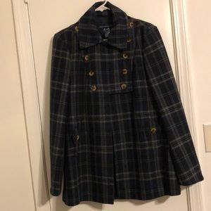 French Connection Plaid Military Army Pea Coat